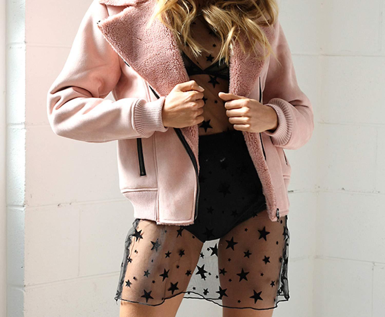 caihonghon Parkas Jackets Zipper Pocket Women's Padded Coats Autumn Winter Outerwear Slim Coats,Pink,L by caihonghon (Image #2)