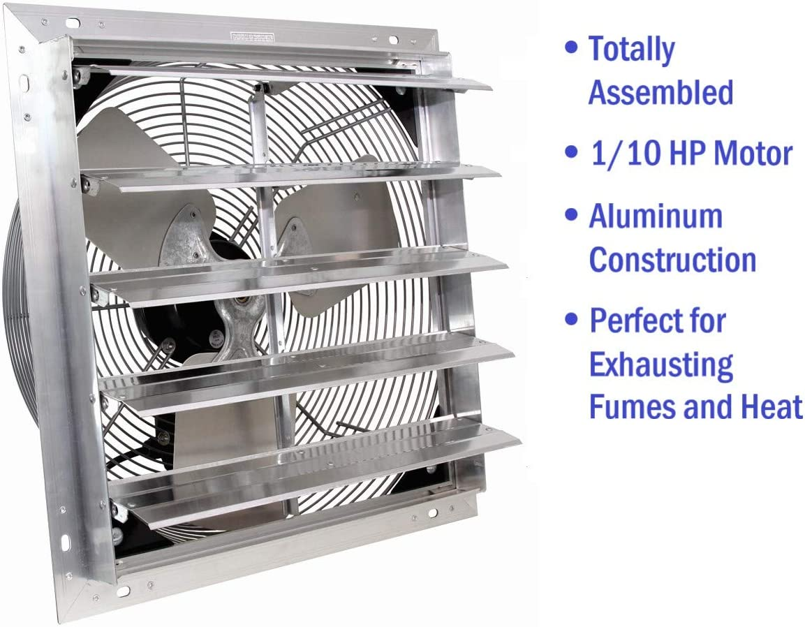 VES Exhaust Fan, Shutter Fan, Box Fan, with 9 Foot Cord 3 Speed for Indoor or Outdoor Ventilation 24 Inches with Control