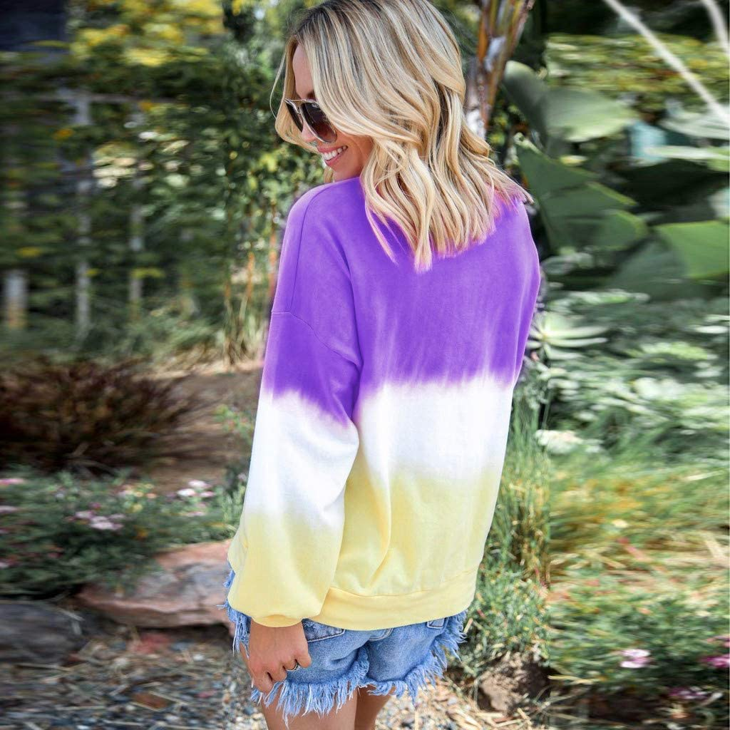 Kauneus Women Gradient Colour Autumn Winter Top Fashion Tie-dye Print Casual Sweatshirt Tops Comfy Slim Pullover