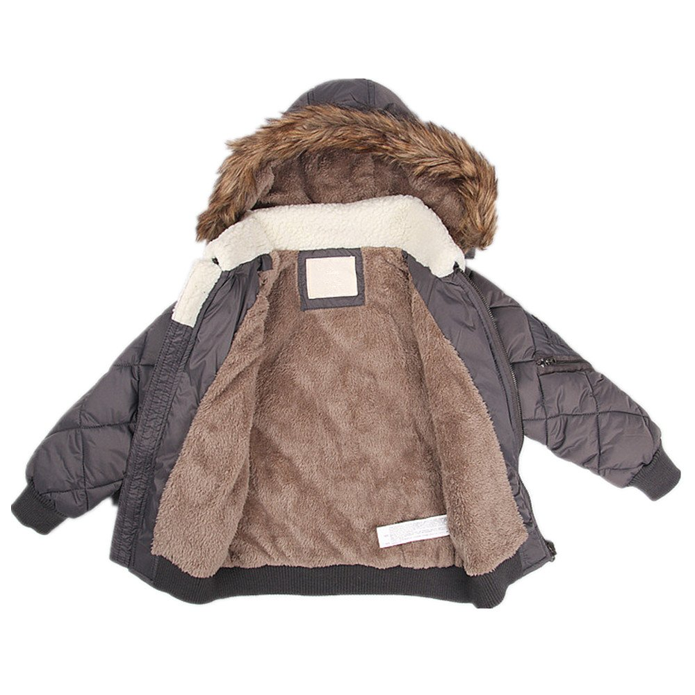 LJYH Kids Baby Boy Winter Warm Puffer Coat Faux Fur Lined Classic Bubble Jacket