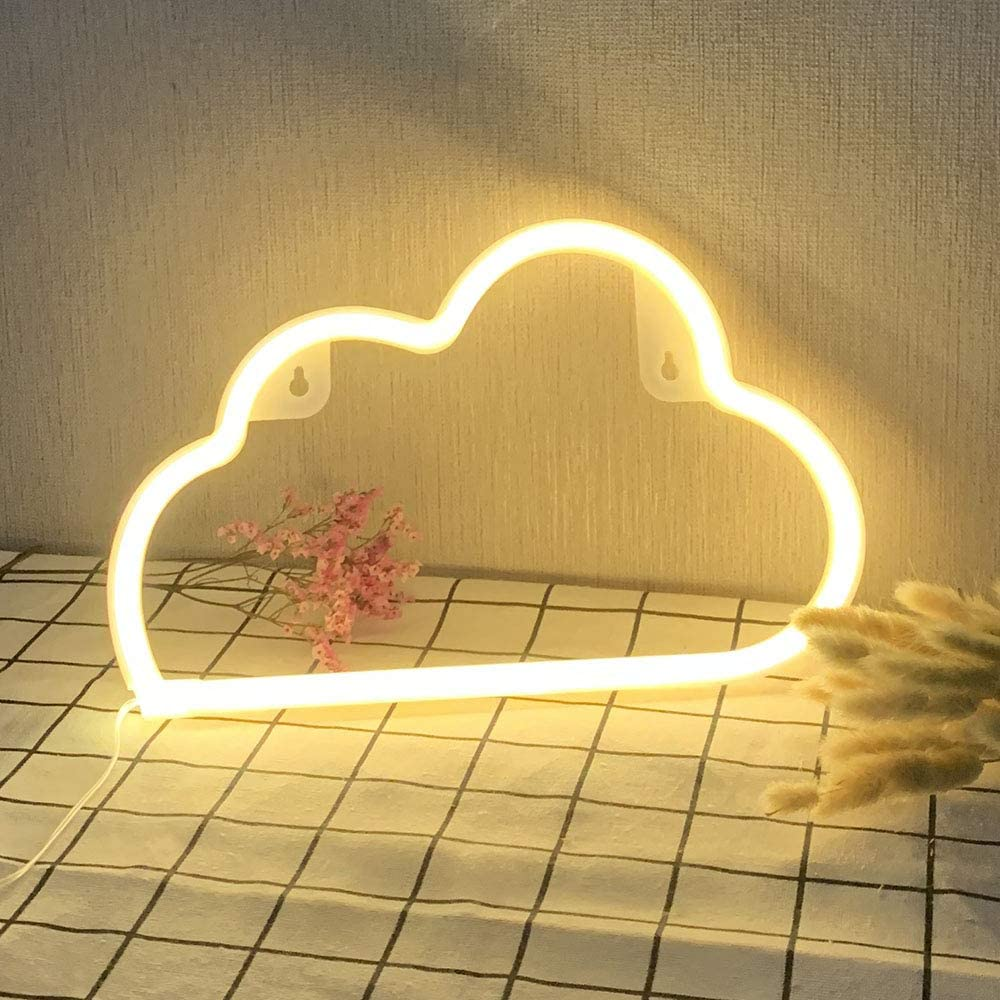 Led Neon Signs Warm White Cloud Wall Home Art Decor Neon Light Sign Fixture for Bedroom Wedding Bar Living Room Baby Child Gift Neon Light White Powered by Batteries USB Cable Sleep Lamp Night Light