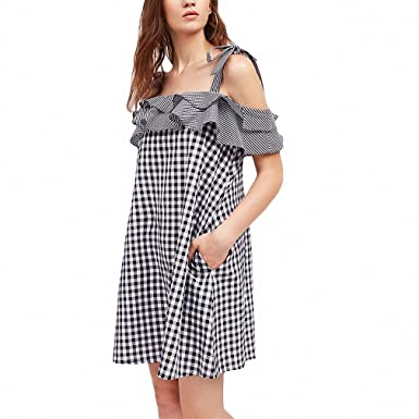 d89a8d0c0 Mixed Gingham Ruffle Summer Dress Self Tie Shoulder Layered Women Cute  Dresses NEW Plaid Bow Mini A Line Party Dress - Multi -  Amazon.co.uk   Clothing