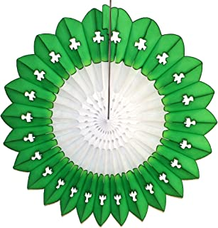product image for Large 27 Inch Shamrock Tissue Paper Fanburst Fan Decoration, St. Patrick's Themed Green and White (1 Fan)