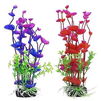 Lvcky - Plantas Artificiales acuáticas para Acuario, plástico, decoración de pecera, 19 cm, 2 Unidades: Amazon.es: Productos para mascotas