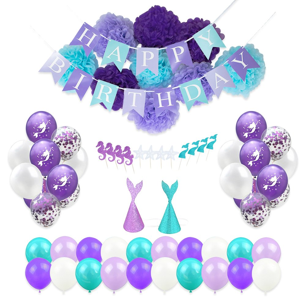 Mermaid Party Supplies, Party Decorations for Girls Birthday Party, 64 Piece Pack of Balloons, Flower Pom Poms, Cupcake Toppers and Hats by Bash Supplies