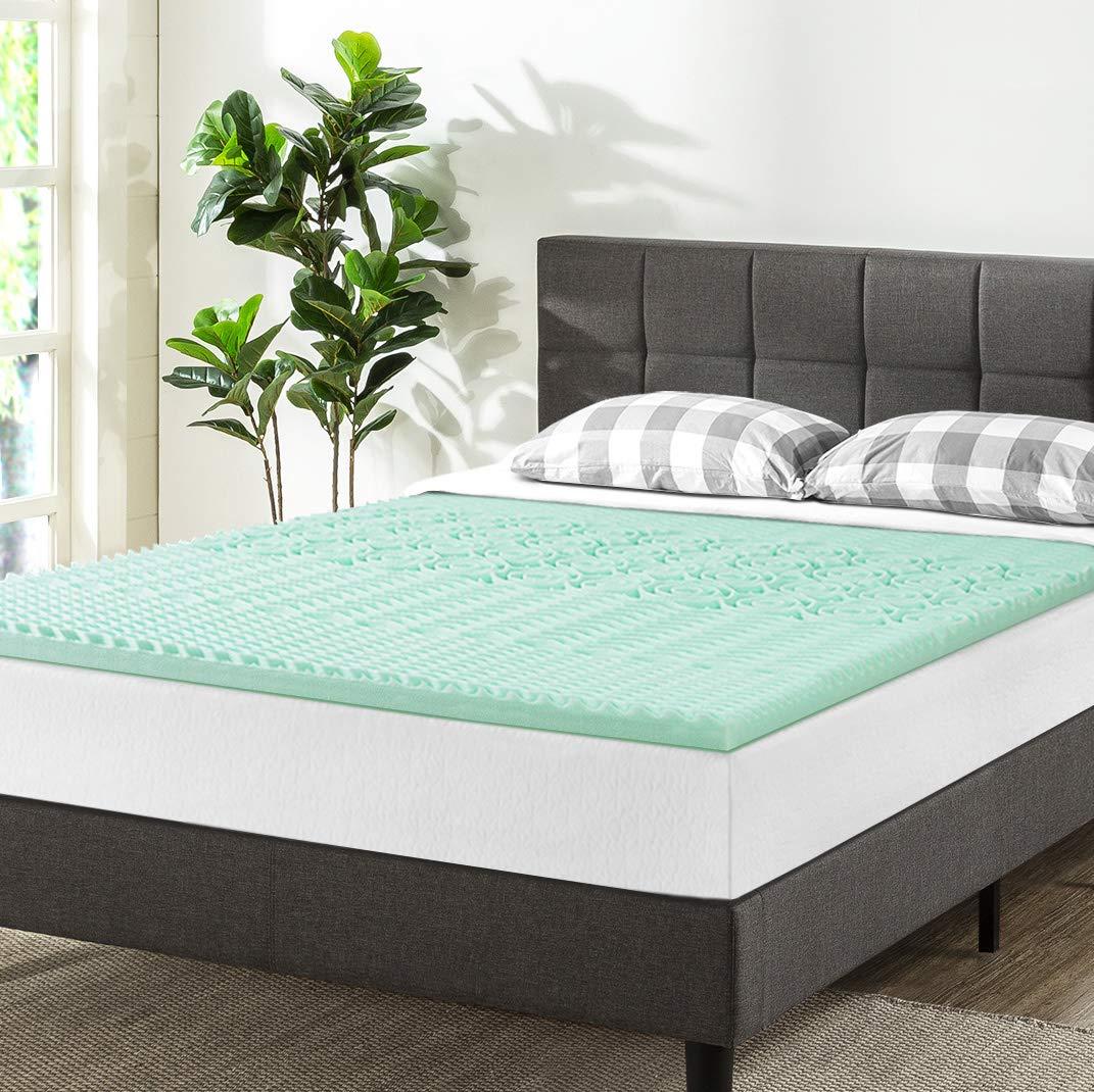 Best Price Mattress Twin XL Mattress Topper - 1.5 Inch 5-Zone Memory Foam Bed Topper Aloe Vera Infused Cooling Mattress Pad, Twin XL Size