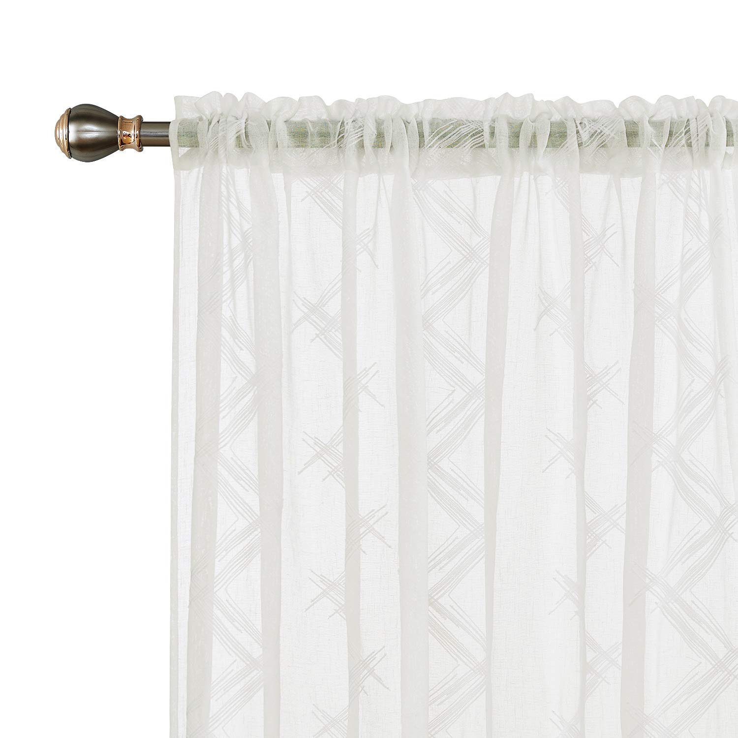 Deconovo Sheer Curtains Embroidered Patterned Semi Faux Linen Rod Pocket Curtains for Living Room 52x84 Inch Beige