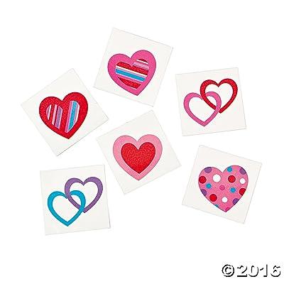 72 Colorful FUN HEART Temporary TATTOOS/VALENTINE'S DAY PARTY FAVORS/6 DOZEN/TEACHER'S Prizes (Original Version): Toys & Games
