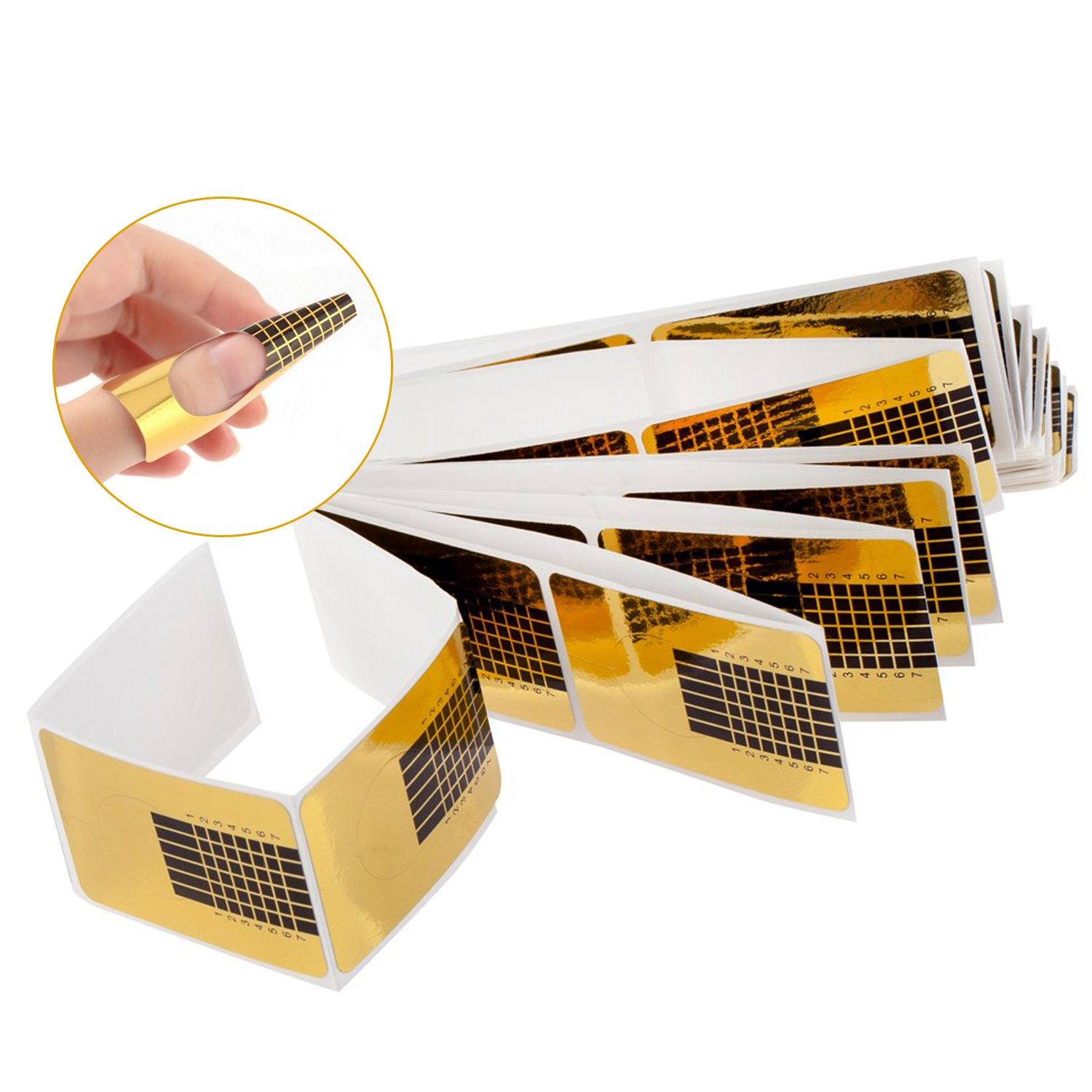 Best Value Set of 100pcs Professional Nail Art Acrylic Nails Extensions Tips Guides / UV Gels Self Adhesive Guiding Stickers In Golden Colour By VAGA