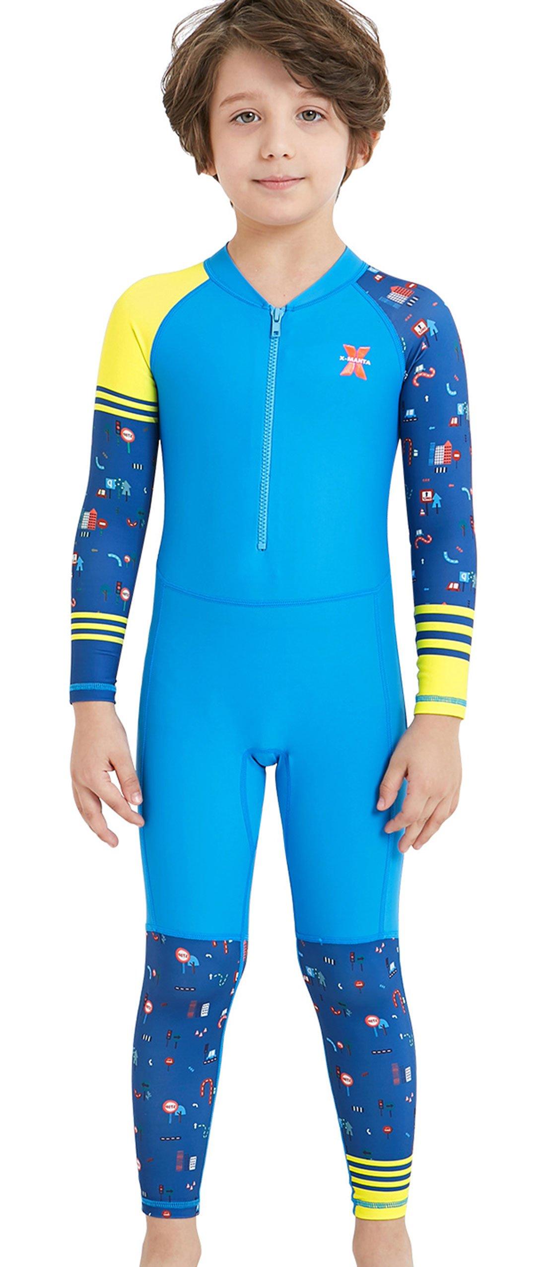 Boys Sunsuit Long Sleeve Swimwear UV Sun Protective Rash Guard One-piece Wetsuit Bodysuit Swimsuit Blue S