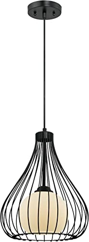 Westinghouse Lighting 6205100 One-Light Adjustable Pendant with Metal Cage and Frosted White Glass, Matte Black