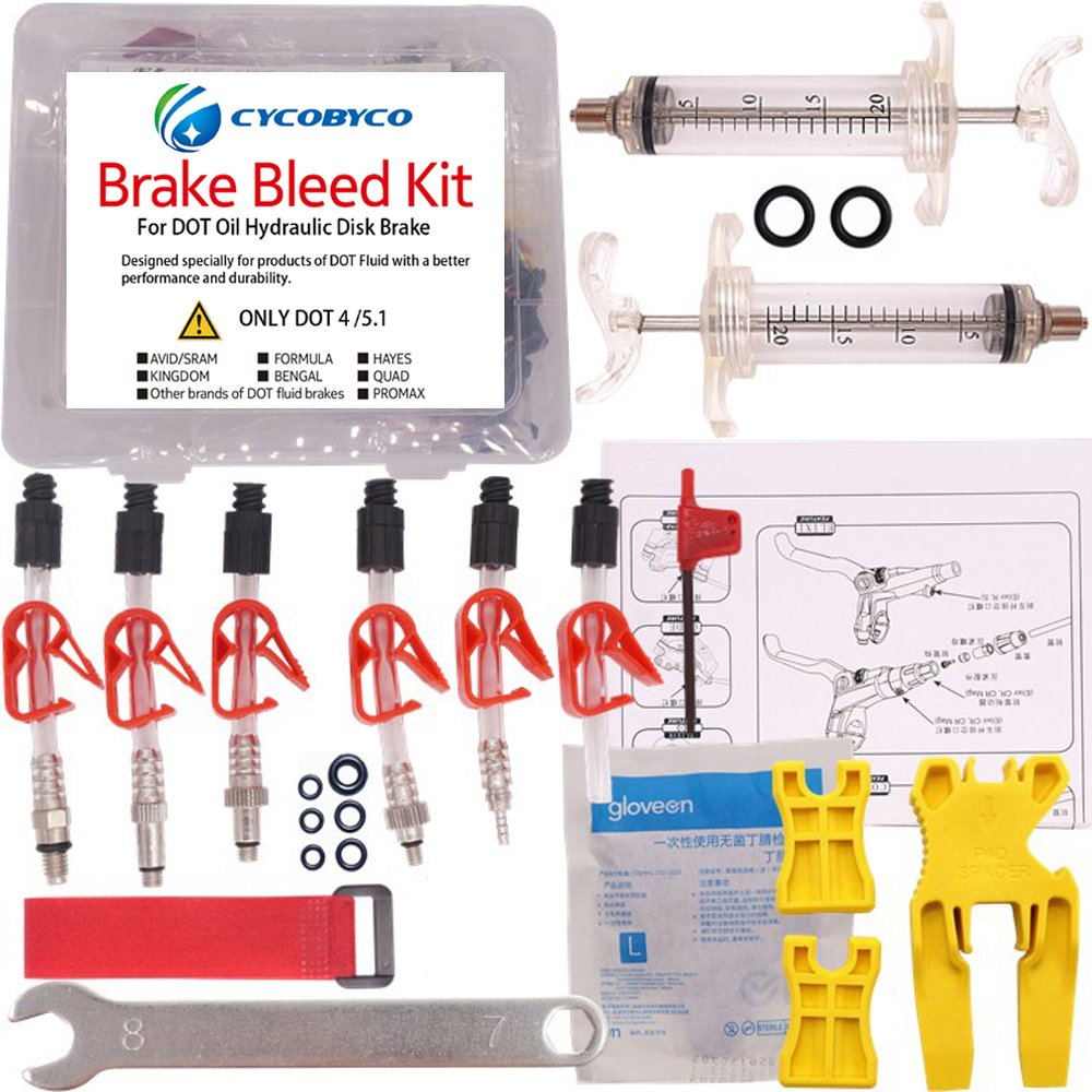 CYCOBYCO DOT Oil Disc Brake Bleed Kit Bike Bicycle Tool for AVID Sram Dode Juicy Hope BNGAL Hayes J3 J5 J7 Formula (Set A) by CYCOBYCO