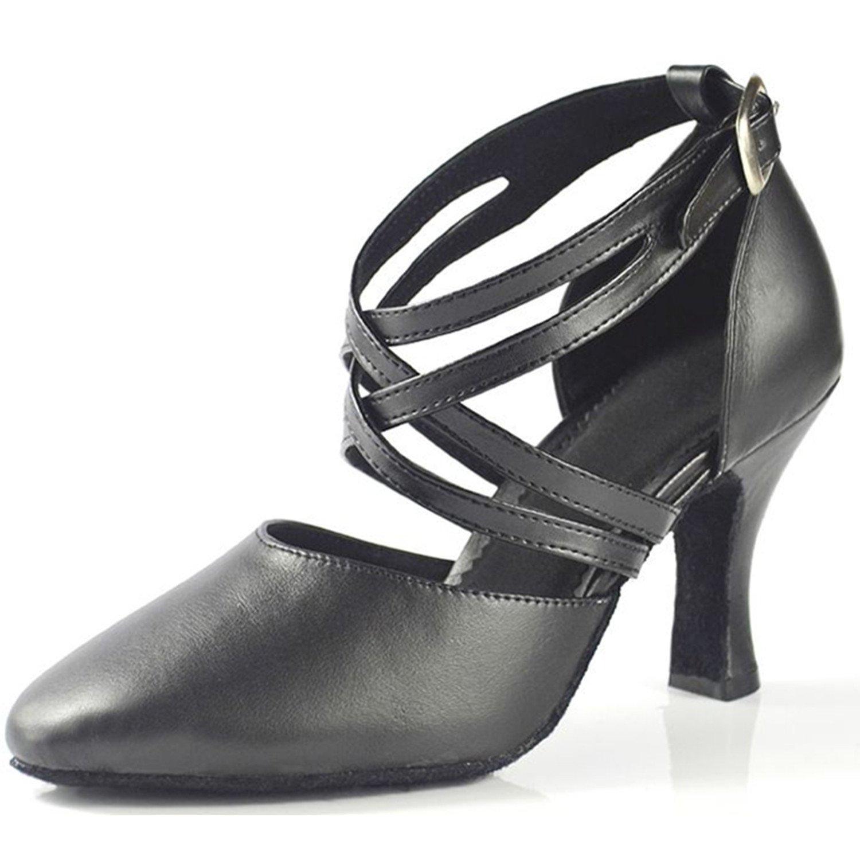 BYLE Sandalias de Cuero Tobillo Modern Jazz Samba Zapatos de Baile Zapatos de Baile Latino de Adultos de Verano Tira Zapatos Zapatos de Baile Latino