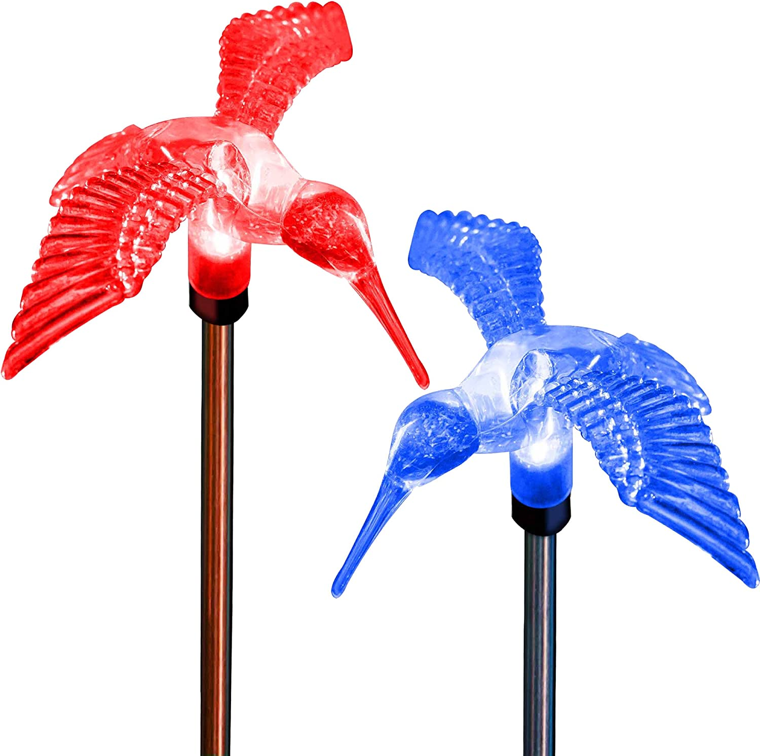Hummingbird Decor LED Solar Powered Acrylic Lights Color Changing Outdoor Decorations Ornament 3D Garden Gifts Yard Stakes Charm Figurines Statue Decorative Lamp (Set of 2)