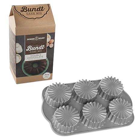 Nordic Ware de volantes medallón moldes para magdalenas de aluminio fundido con doble Chocolate Cake Mix