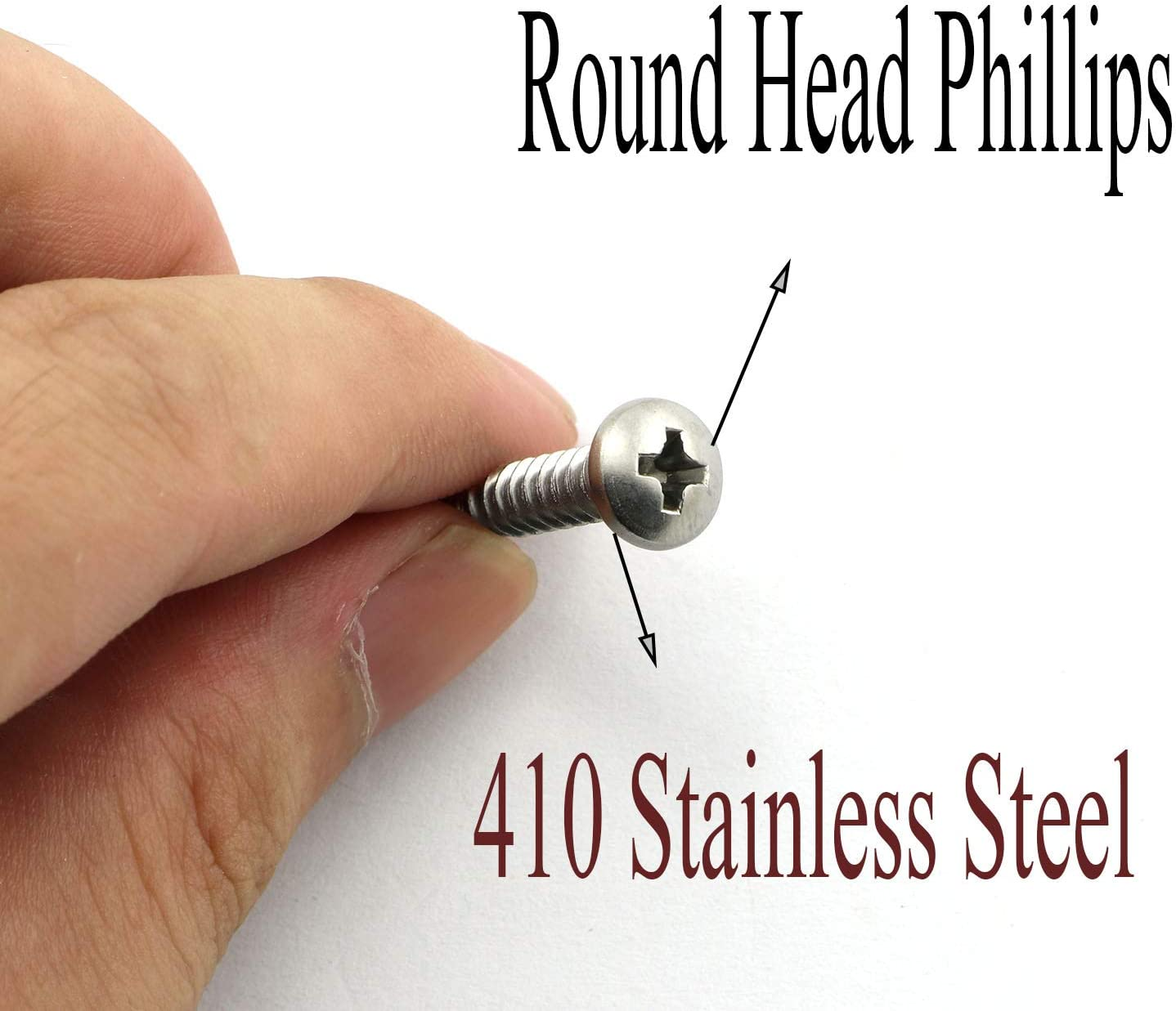 50 Pack #10x1 Inch Self-Drilling Dovetail Screws Kit 410 Stainless Steel Round Head Phillips Drive Drill Point Tek Screws