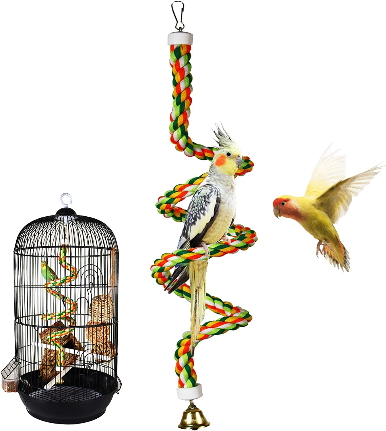 iLeson Bird Rope Perches Stand Ladder Toys for Parrots Parakeets Cockatiels Conures Macaw Budgies Swing Lovebird Cage Comfy Bird Spiral Bungee Rope Perch with Bell