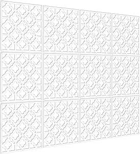 Kernorv Hanging Room Divider Decorative Screen Panels Made of PVC Room Divider Panels for Living Room Bedroom Office Restaurant (White, 12 PCS)