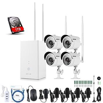 ANNKE Sistema de Vigilancia WIFI 1080P NVR Inalámbrico y 4 Cámaras de Seguridad 960P(Onvif