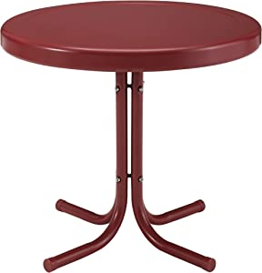 Crosley Furniture CO1011A-RG Griffith Retro Metal Outdoor Side Table, Red