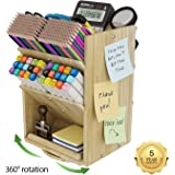Bamboo Desk Organizer Storage Accessories - Ultra-large 13 compartments, 1000+ Pencil Holder Capacity, Easy DIY Assembly, DF Darfoo Rotating Desktop Organizer for women, Cosmetics, and Office Supplies