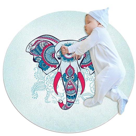 Wetia Tatuaje de Elefante Azul pálido Alfombra de área Redonda ...