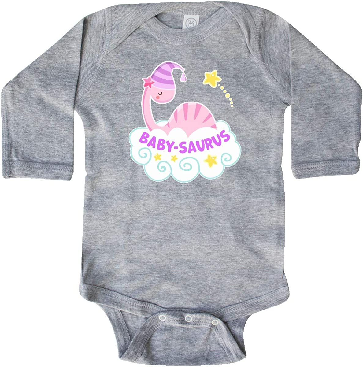 inktastic Cute Pink Dinosaur with Bow Toddler Long Sleeve T-Shirt