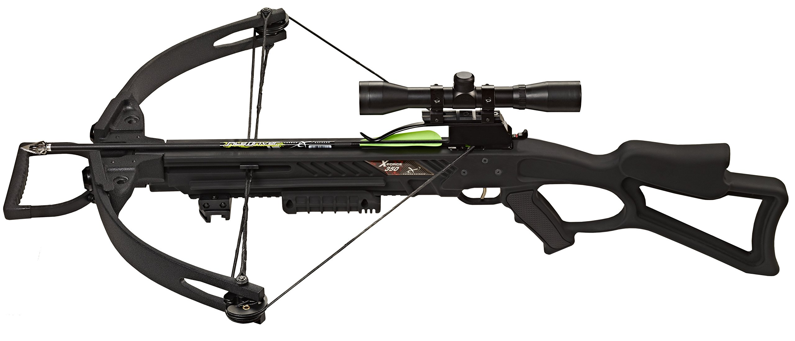 Carbon Express 20271 X-Force 350 Crossbow Kit (Rope Cocker, 3 Arrow Quiver, 3 Crossbolts, Rail Lubricant, 3 Practice Points, 4x32 Scope), Black by Carbon Express (Image #3)