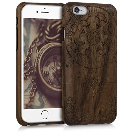 kwmobile Funda para Apple iPhone 6 / 6S - Carcasa de [Madera] para móvil - Case Trasero [Duro] con diseño de Rosa de los Vientos