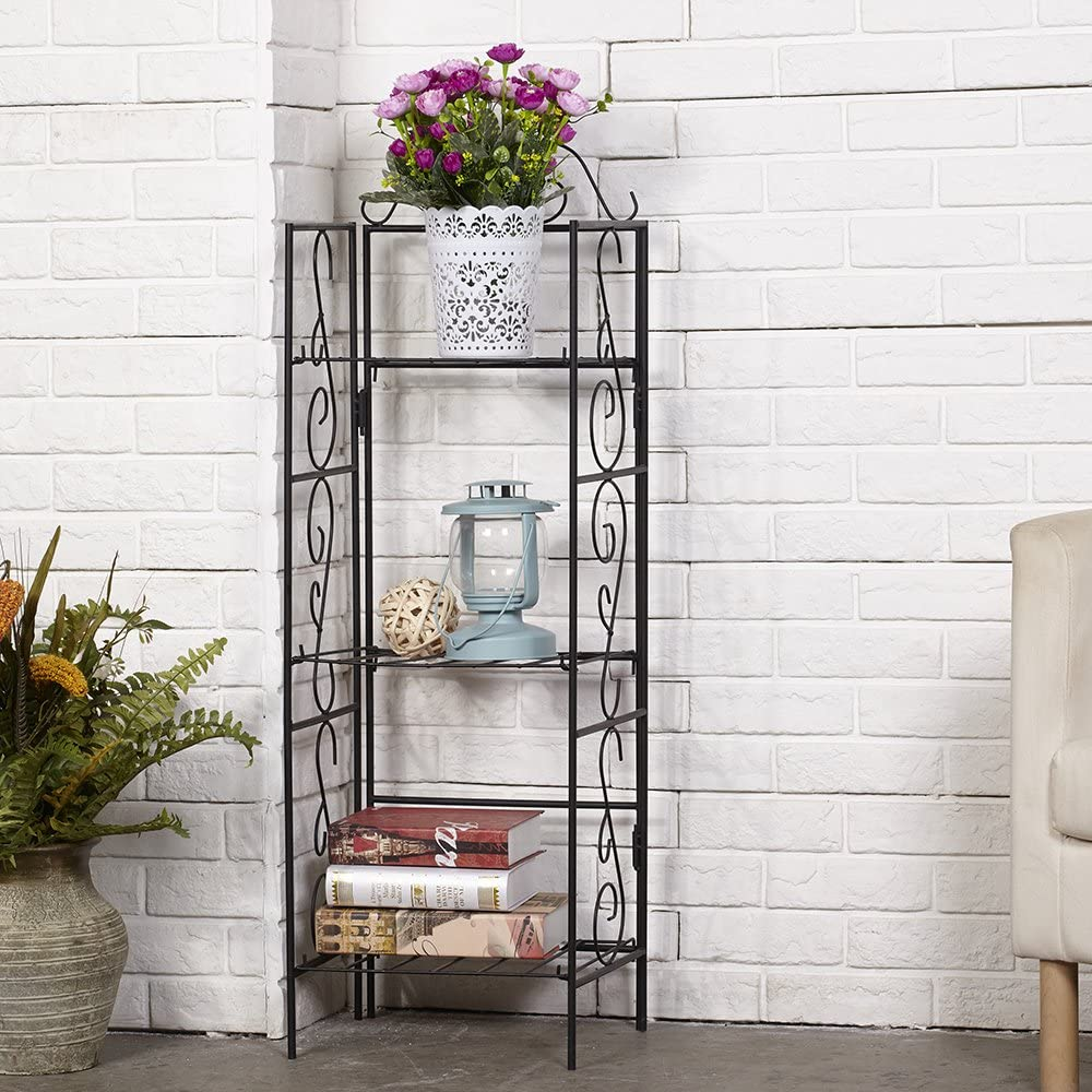 AMAGABELI GARDEN HOME Versatile 3 Tier Standing Wire Shelf Shelving Unit Bakers Rack Metal Rustproof Organizer Corner Planter Stand Storage Shelves Indoor Outdoor Plant Rack Bookcase Black
