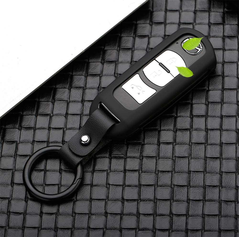Blue Beerte Key Fob Cover fit for Mazda3,6,CX-9,C-X7,CX-5,Atenza,AxelaKey MX-5 Miata Shell 2-4 Button Keyless Entry Remote Control Smart Car Key Fob Protective Case