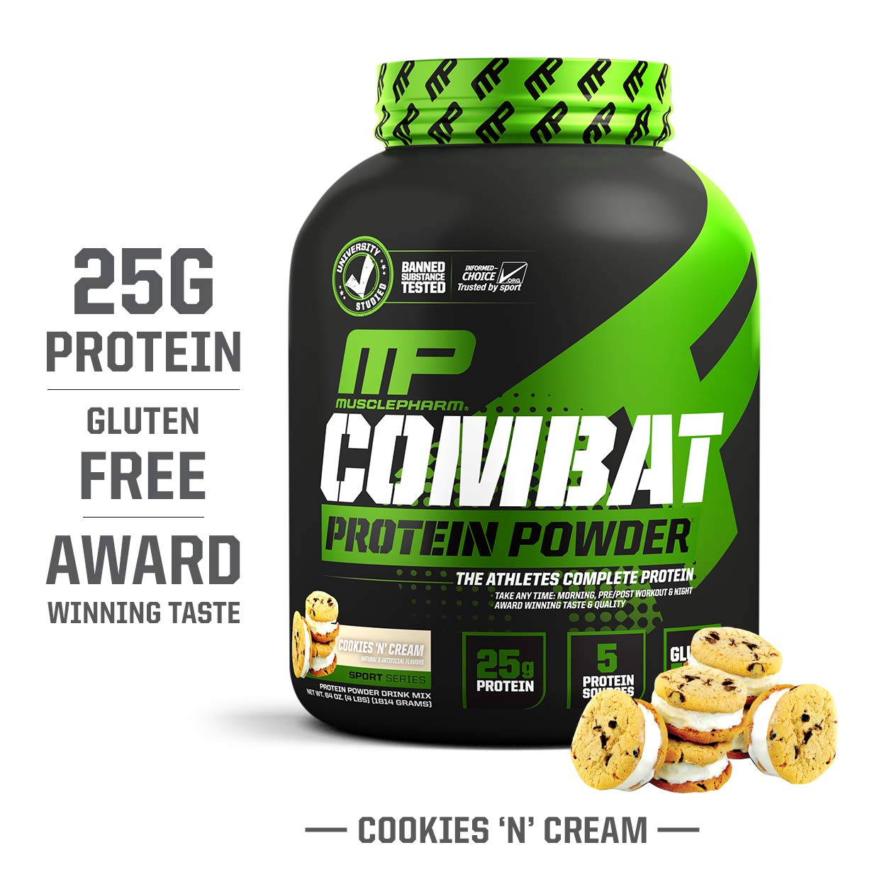 MusclePharm Combat Protein Powder, Essential Whey Protein Powder, Isolate Whey Protein, Casein and Egg Protein with BCAAs and Glutamine for Recovery, Cookies N Cream, 4-Pound, 52 Servings