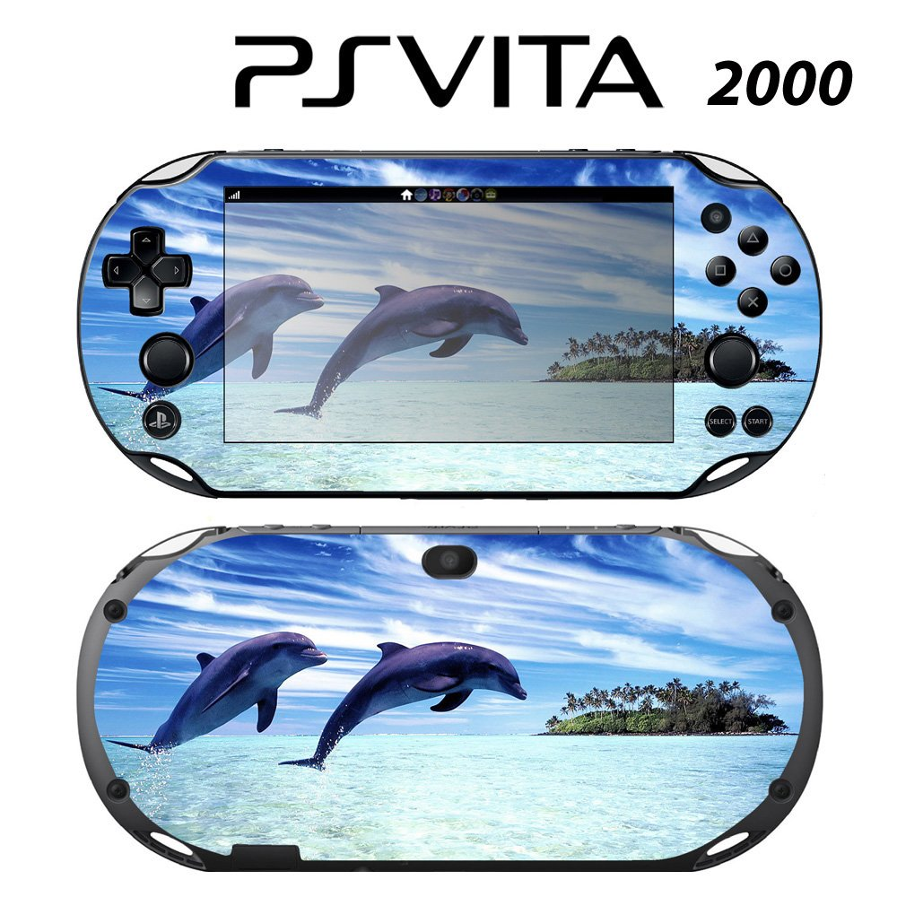 Decorative Video Game Skin Decal Cover Sticker for Sony PlayStation PS Vita Slim (PCH-2000) - Jumping Dolphins