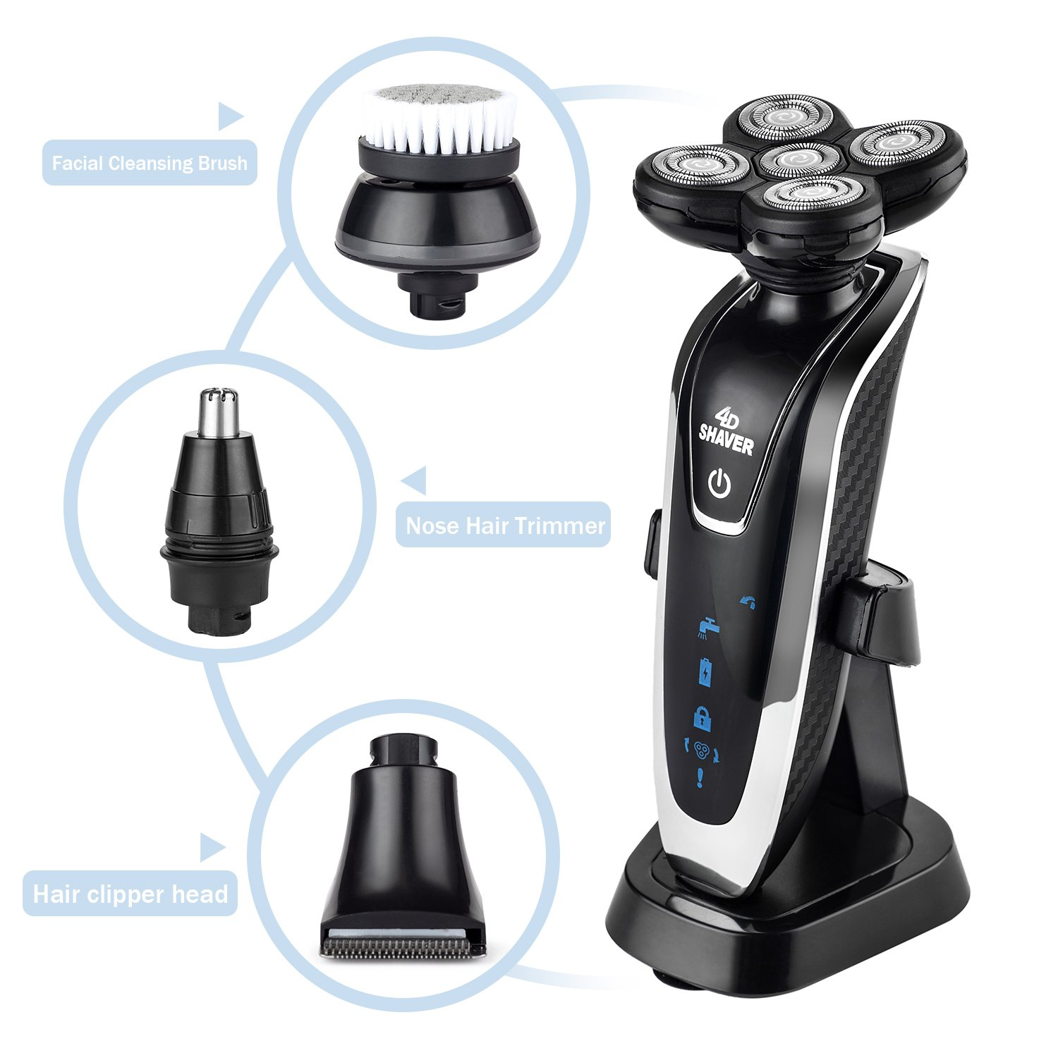 Electric Rotary Shavers 4 in 1, 4D Cordless USB Rechargeable IPX7 Waterproof Men's Shaver with 5 Head Razor, Hair Clippers Nose Hair Trimmer and Facial Cleansing Brush, Wet & Dry Wet and Dry with Charging Stand iBeauTek