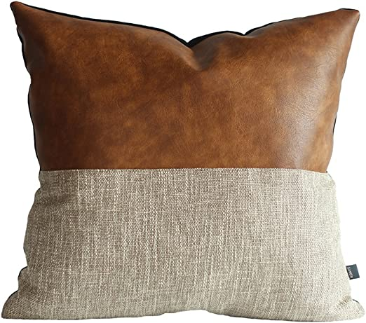 Amazon Com Kdays Halftan Pillow Cover Cognac Leather Decorative Throw Pillow Case Farmhouse Trendy Sofa Couch Cushion Covers Modern Minimalist Color Block Pillow Cover 18x18 Inches Home Kitchen