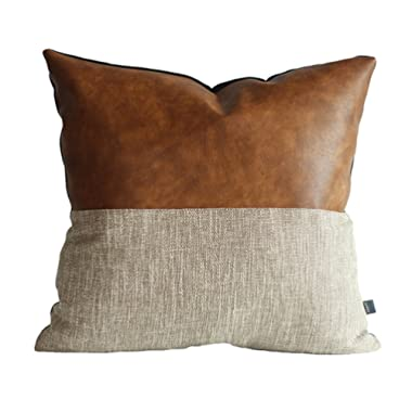 Kdays Halftan Pillow Cover Designer Modern Throw Pillow Cover Decorative Faux Leather Pillow Cover Handmade Cushion Cover 22x22 Inches