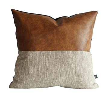 Kdays Halftan Pillow Cover Designer Modern Throw Pillow Cover Decorative  Faux Leather Pillow Cover Handmade Cushion Cover 18x18 Inches