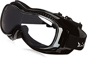 Pacific Coast Airfoil Padded 'Fit Over Glasses' Riding Goggles (Black Frame/Silver Smoke Lens)