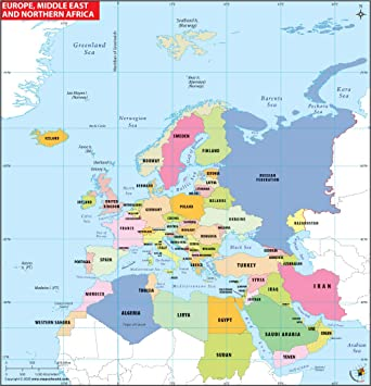 Europe Middle East Map Amazon.: Europe, Northern Africa and Middle East Map