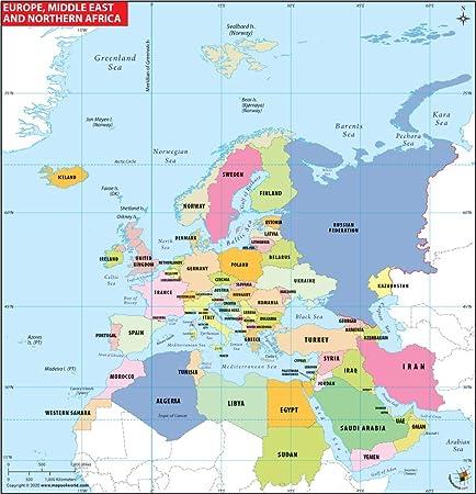 Europa, del norte de África y Oriente Medio mapa (91 cm W x 91 cm H): Amazon.es: Oficina y papelería
