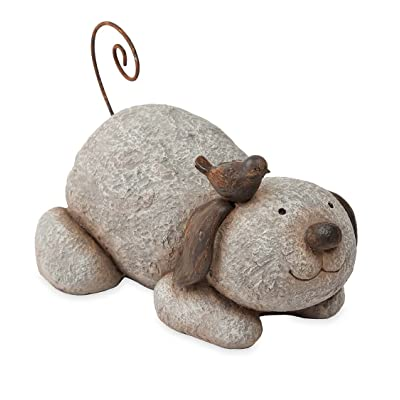 Wind & Weather Puppy with Bird Sculpture 9.75''L x 7.5''W x 6.25''H: Home & Kitchen