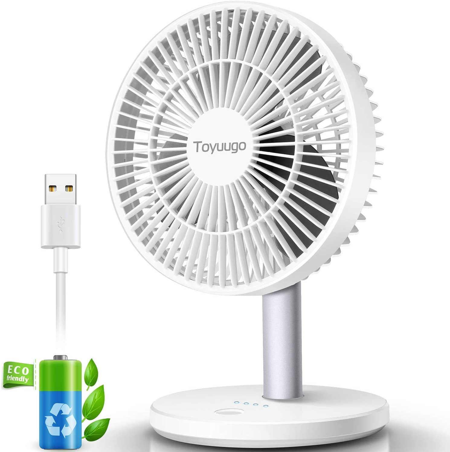 "Toyuugo USB Desk Fan, 5.5"" Ultra Quiet 3 Speed Portable Personal Table Cooling Fan with 90° Adjustment, Easy to Clean, Strong Airflow Table Fan for Office Travel Outdoor Camping Beach(2200mAh-White)"
