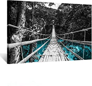 Kreative Arts Nature Painting on Canvas Teal w/a Black Suspension Bridge Over Water Wall Art Picture Prints and Poster Framed Giclee Art Work for Living Room Birthday Gifts Decoration 24x36inch