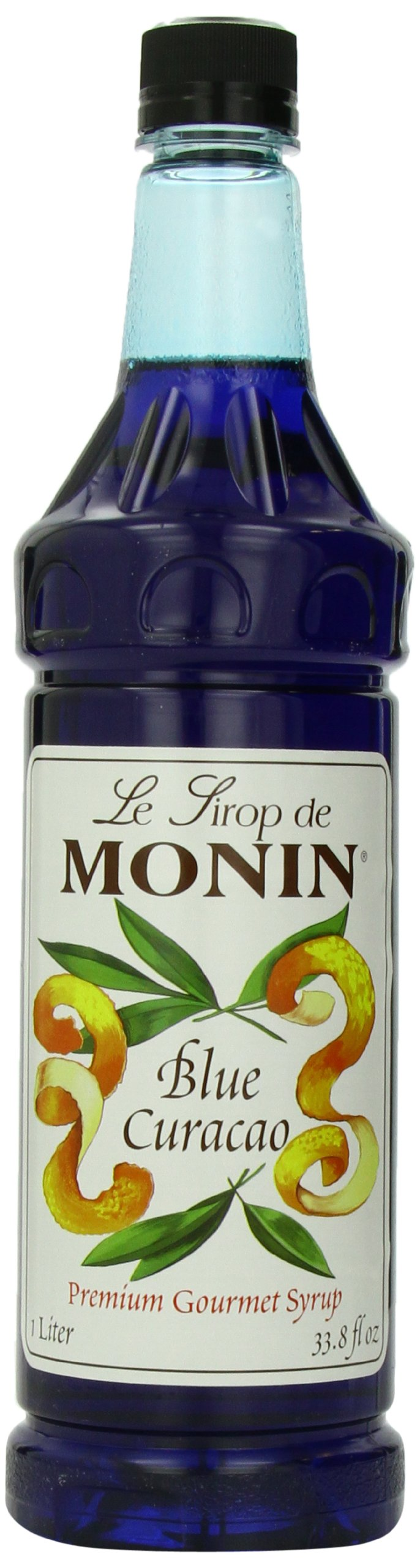 Monin Flavored Syrup, Blue Curacao, 33.8-Ounce Plastic Bottles (Pack of 4)