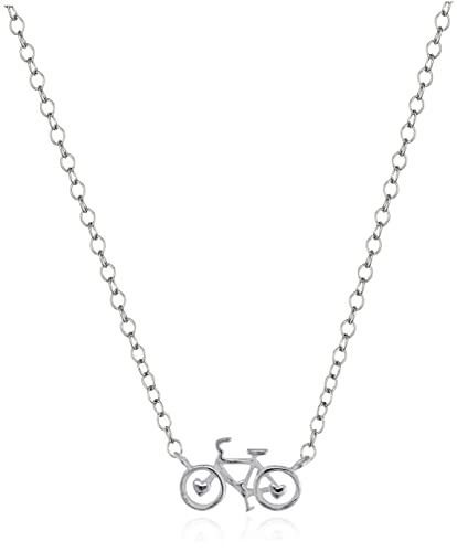 Amazon sterling silver mini bicycle pendant necklace 16 2 sterling silver mini bicycle pendant necklace 16quot 2quot extender aloadofball Gallery