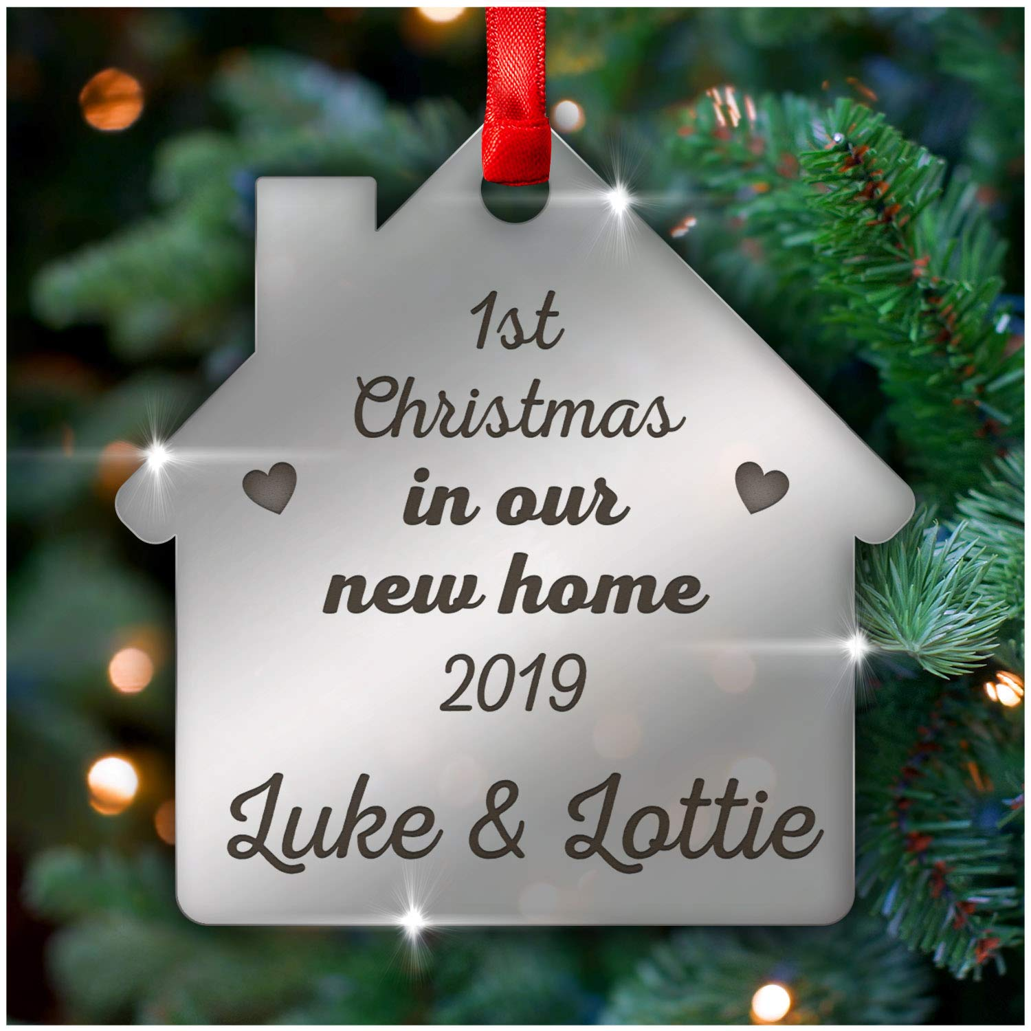Personalised Any Name Christmas Tree Glass Decoration Bauble Xmas Gift 14