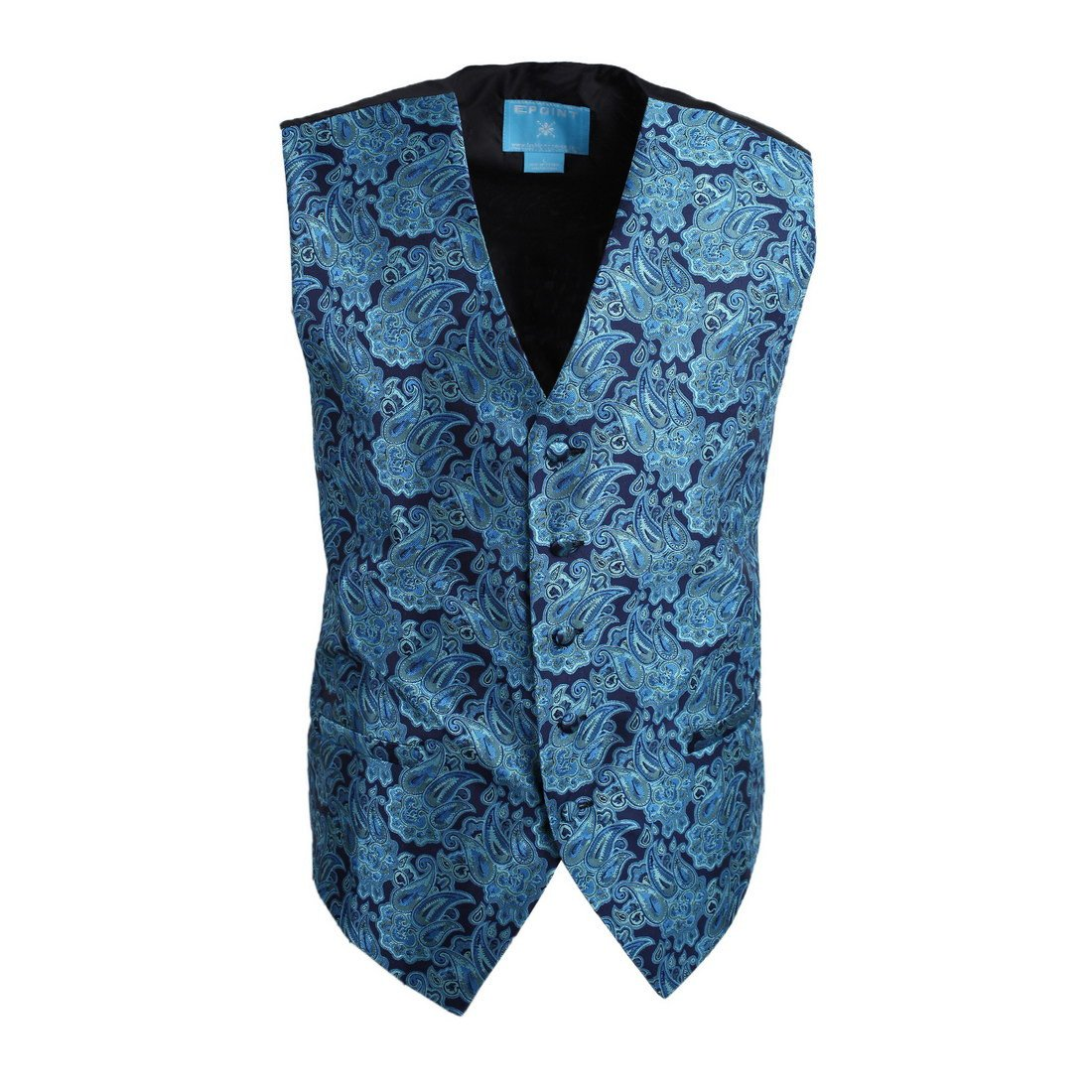 Epoint EGC1B06B-2XL Dark Turquoise Patterned Love For Marriag Waistcoat Woven Microfiber Bridegrooms Mens Vests XX-Large Vest