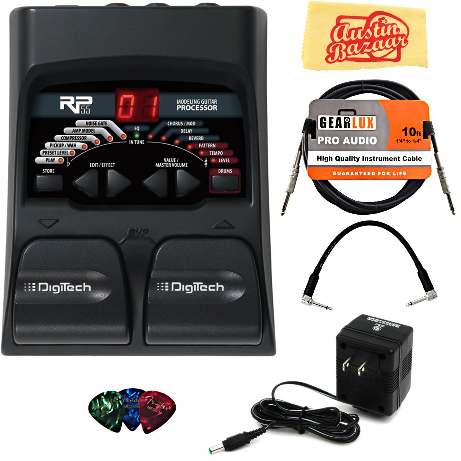 DigiTech RP55 Multi-Effects Pedal Bundle with Power Supply, Instrument Cable, Patch Cable, Picks, and Austin Bazaar Polishing Cloth by DigiTech