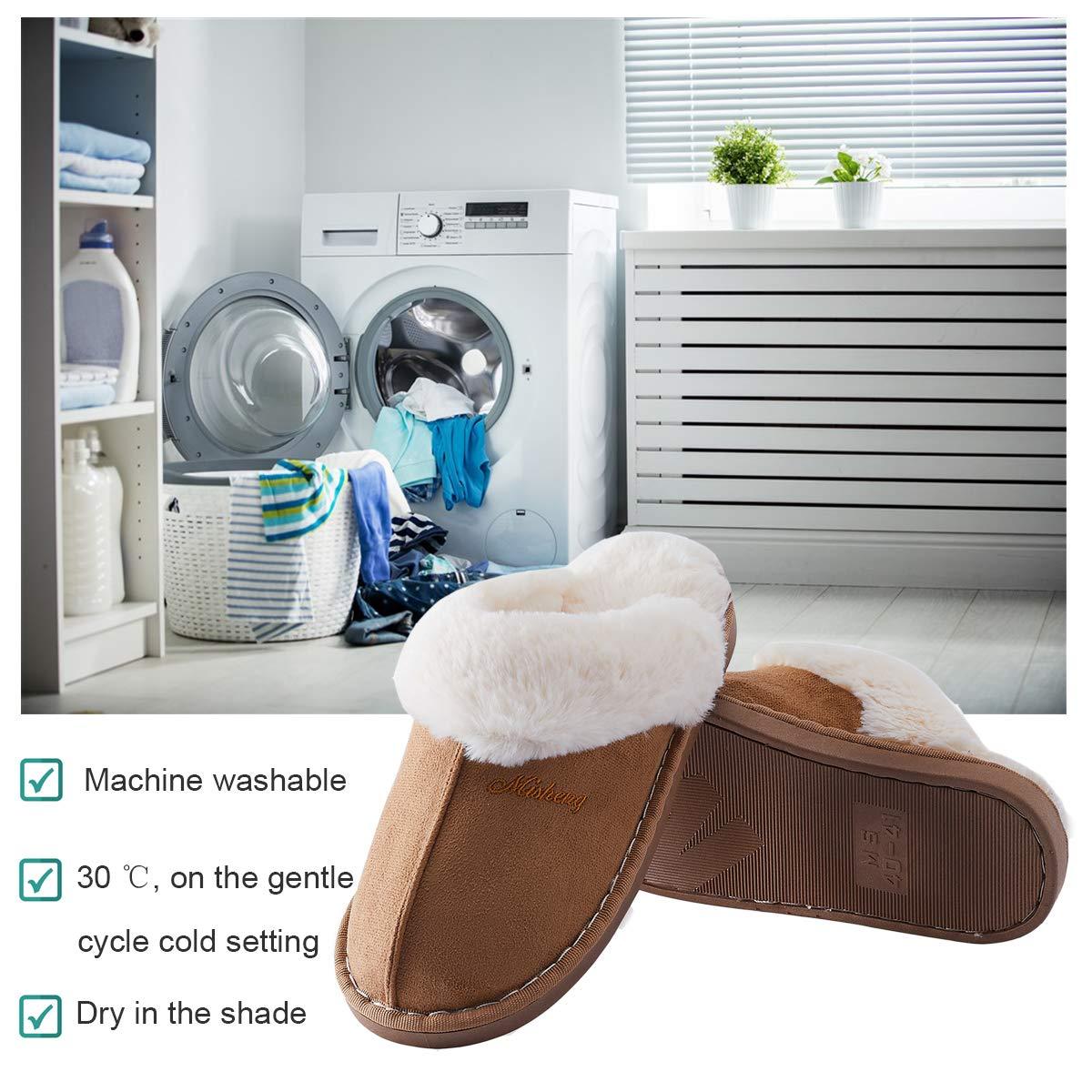TUONROAD Herren Damen Hausschuhe Winter Plüsch Warm Pantoffeln Freizeit Anti-Skid Home Schuhe 40/41 EU, Braun