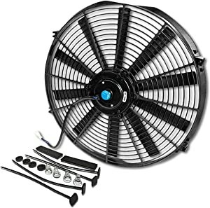 (Pack of 1) 16 Inch High Performance 12V Electric Slim Radiator Cooling Fan w/Mounting Kit - Black